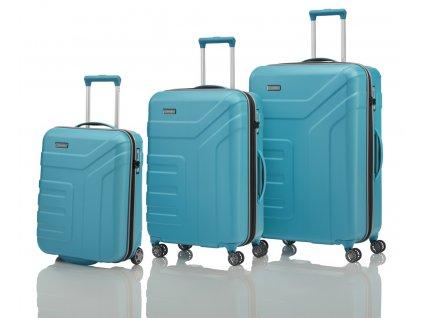 Travelite Vector 2w S, 4w M,L Turquoise – sada 3 kufrů  + Pouzdro zdarma