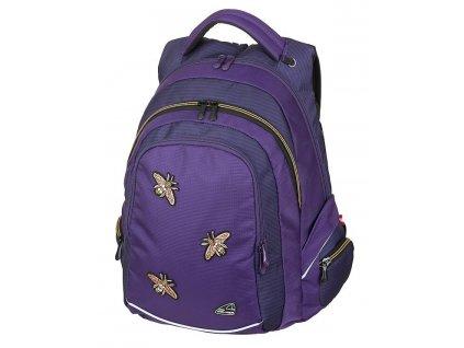 Studentský batoh FAME Bee Violet  + Pouzdro zdarma