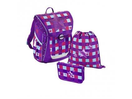 161900 skolni aktovka 3 dilny set baggymax fabby pink star
