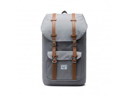 Herschel Little America Grey/Tan Synthetic Leather 25L  + Pouzdro zdarma