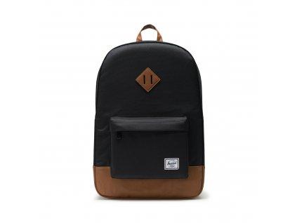 Herschel Heritage Black/Tan Synthetic Leather 21,5L  + Pouzdro zdarma
