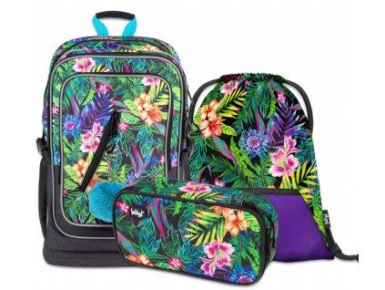 BAAGL SET 3 Tropical: batoh, penál a sáček  + Pouzdro zdarma