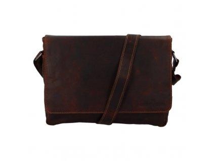 Green Wood Luxusní pánská kožená taška Bert hnědá  + Pouzdro zdarma