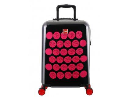 """LEGO Luggage ColourBox Brick Dots S 20"""" - Černý/Růžový  + Pouzdro zdarma"""