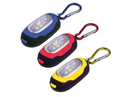 Solight LED svítilna s karabinou, 3x LED, 2x CR2032 součástí