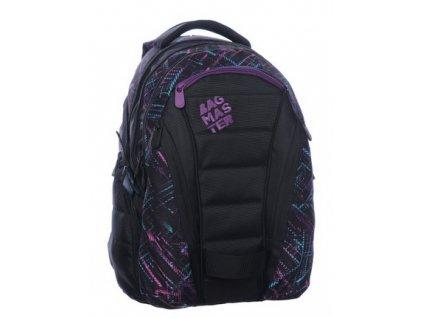 Bagmaster Studentský batoh BAG 0115 C BLACK/VIOLET  + Pouzdro zdarma