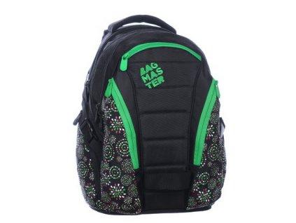 Bagmaster Studentský batoh BAG 0215 D BLACK/GREEN  + Pouzdro zdarma