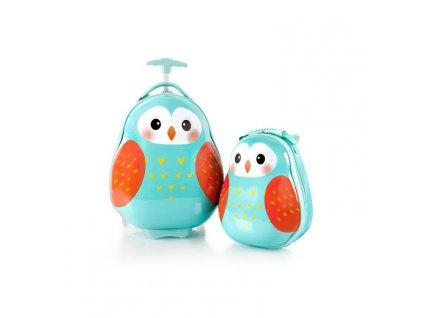 Heys Travel Tots Lightweight Kids Owl – sada batohu a kufru  + Pouzdro zdarma