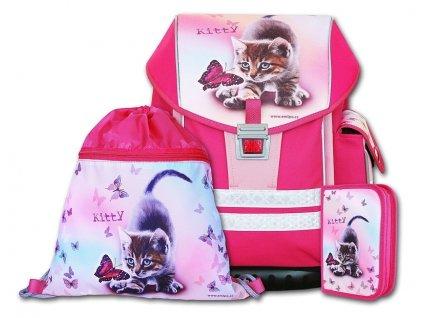 Školní aktovkový set ERGO ONE Kitty 3-dílný  + Pouzdro zdarma