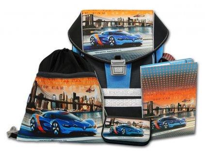 Školní aktovkový set ERGO ONE Top Car 4-dílný  + Pouzdro zdarma