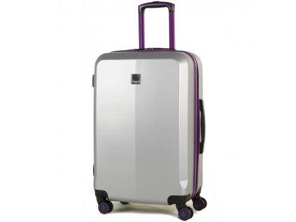 Cestovní kufr MEMBER'S TR-0150/3-M ABS - stříbrná/fialová  + PowerBanka nebo pouzdro zdarma