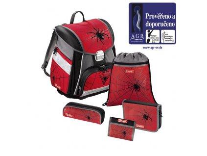 Školní aktovka - 5-dílný set, Step by Step Červený pavouk, certifikát AGR  + PowerBanka nebo pouzdro zdarma