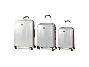 Sada cestovních kufrů ROCK TR-0165/3 ABS - stříbrná  + PowerBanka nebo pouzdro zdarma