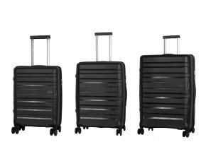 Travelite Kosmos 4w S,M,L Black – sada 3 kufrů