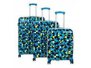 Travelite Campus Hardshell S,M,L Quadro blue – sada 3 kufrů