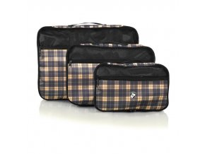 Heys Exotic Packing Cube Set Yellow plaid – sada 3 ks