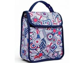 BUILT Girl's Lunch Sack - Mosaic Flower - Blue
