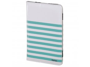 """Hama Stripes pouzdro na tablet do 20,3 cm (8""""), bílé s tyrkysovými proužky"""