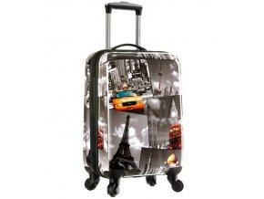 Kabinové zavazadlo CITIES T-535/3-50 PC - šedá  + Pouzdro zdarma