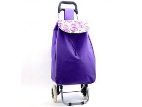 Nákupní taška na kolečkách METRO ST-004 - fialová/jablko