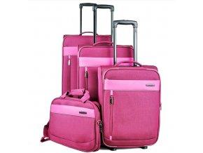 Travelite Delta 2w S, 4w M,L Berry – sada 3 kufrů + BB  + PowerBanka nebo pouzdro zdarma