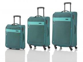 Travelite Delta 2w S, 4w M,L Pine green – sada 3 kufrů + BB  + PowerBanka nebo pouzdro zdarma