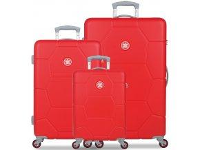 Sada cestovních kufrů SUITSUIT® TR-1243/3 ABS Caretta Fiery Red  + PowerBanka nebo pouzdro zdarma