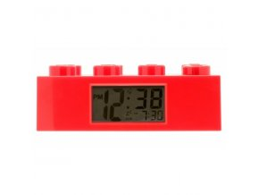 LEGO Brick - hodiny s budíkem, červené