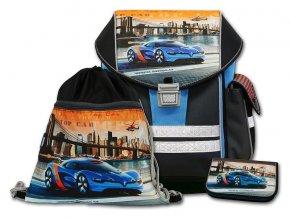 Školní aktovkový set ERGO ONE Top Car 3-dílný  + Pouzdro zdarma