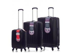 Sada cestovních kufrů CITIES T-105/3 ABS - tmavě modrá  + PowerBanka nebo pouzdro zdarma