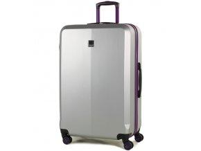 Cestovní kufr MEMBER'S TR-0150/3-L ABS - stříbrná/fialová  + PowerBanka nebo pouzdro zdarma