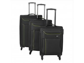 Travelite Solaris 4w S,M,L Black/lemon – sada 3 kufrů + BB  + PowerBanka nebo pouzdro zdarma