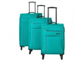 Travelite Solaris 4w S,M,L Aqua/orange  – sada 3 kufrů + BB  + PowerBanka nebo pouzdro zdarma