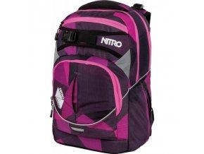 NITRO školní batoh SUPERHERO fragments purple  + PowerBanka nebo pouzdro zdarma