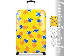 Cestovní kufr B.HPPY BH-1607/3-L - Home Sweet Pineapple  + PowerBanka nebo pouzdro zdarma