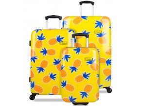Sada cestovních kufrů B.HPPY BH-1607/3 - Home Sweet Pineapple  + PowerBanka nebo pouzdro zdarma