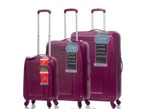Sada cestovních kufrů CITIES T-125/3 ABS - fialová  + PowerBanka nebo pouzdro zdarma
