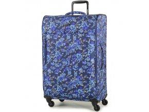 Cestovní kufr MEMBER'S TR-0131/3-L - modrá/Flowers  + PowerBanka nebo pouzdro zdarma