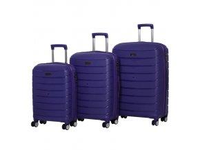 Sada cestovních kufrů ROCK TR-0157/3 PP - modrá  + PowerBanka nebo pouzdro zdarma