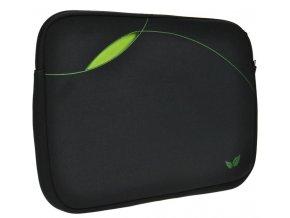 Solight neoprenové pouzdro na notebook 14'', kapsa bez zipu, černé/zelené
