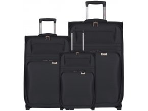 Sada cestovních kufrů AEROLITE T-9515/3 - černá  + PowerBanka nebo pouzdro zdarma