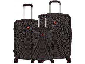 Sada cestovních kufrů SIROCCO T-1157/3 ABS - černá  + PowerBanka nebo pouzdro zdarma