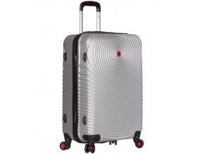 Cestovní kufr SIROCCO T-1157/3-M ABS - stříbrná  + PowerBanka nebo pouzdro zdarma