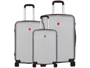 Sada cestovních kufrů SIROCCO T-1157/3 ABS - stříbrná  + PowerBanka nebo pouzdro zdarma