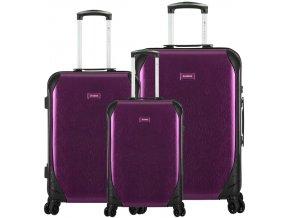 Sada cestovních kufrů SIROCCO T-1159/3 PC - fialová  + PowerBanka nebo pouzdro zdarma
