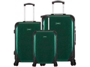 Sada cestovních kufrů SIROCCO T-1159/3 PC - zelená  + PowerBanka nebo pouzdro zdarma