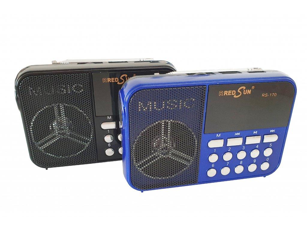 Přenosné dobíjecí bezdrátové rádio s přehrávačem a postranní svítilnou RS-170