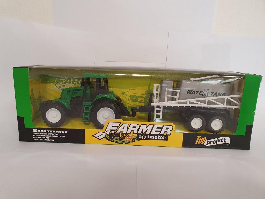 Dětský zelený traktor s přívěsem vodní nádrže
