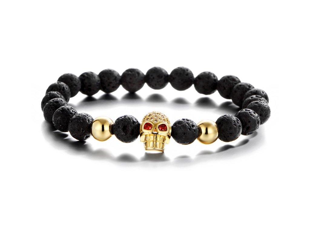 Zlatý náramek Imperial Skull s lávovými kameny