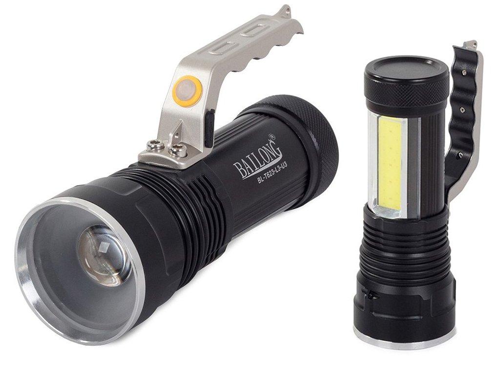 eng pl Bailong XM L T6 COB LED Police Searchlight Flashlight 2123 1 3